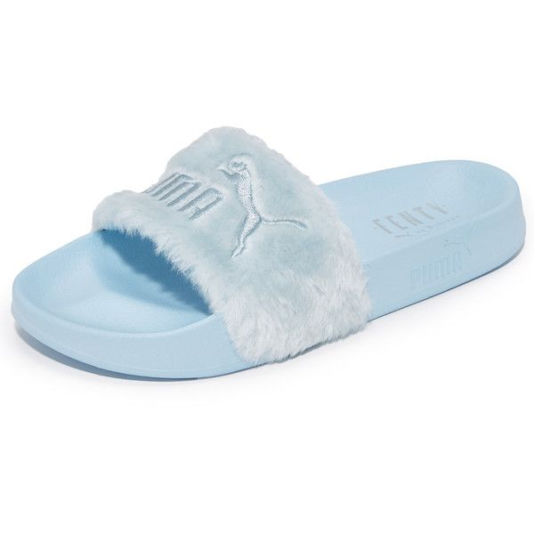 PUMA FENTY x PUMA Faux Fur Slides ($91) ❤ liked on Polyvore featuring shoes