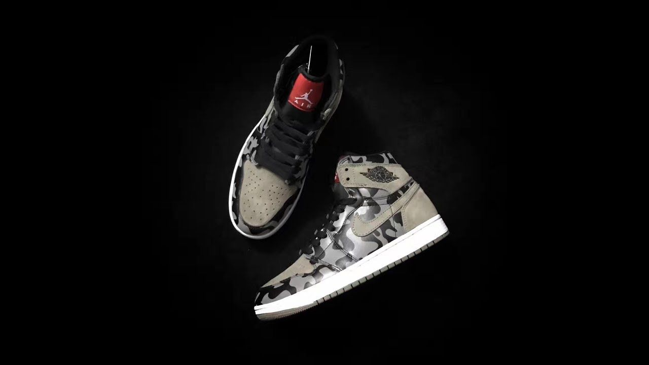 "NIKE AIR JORDAN 1 RETRO HIGH ""SHADOW CAMO"" -MEN-Black Grey White ... 52b6c684d4"