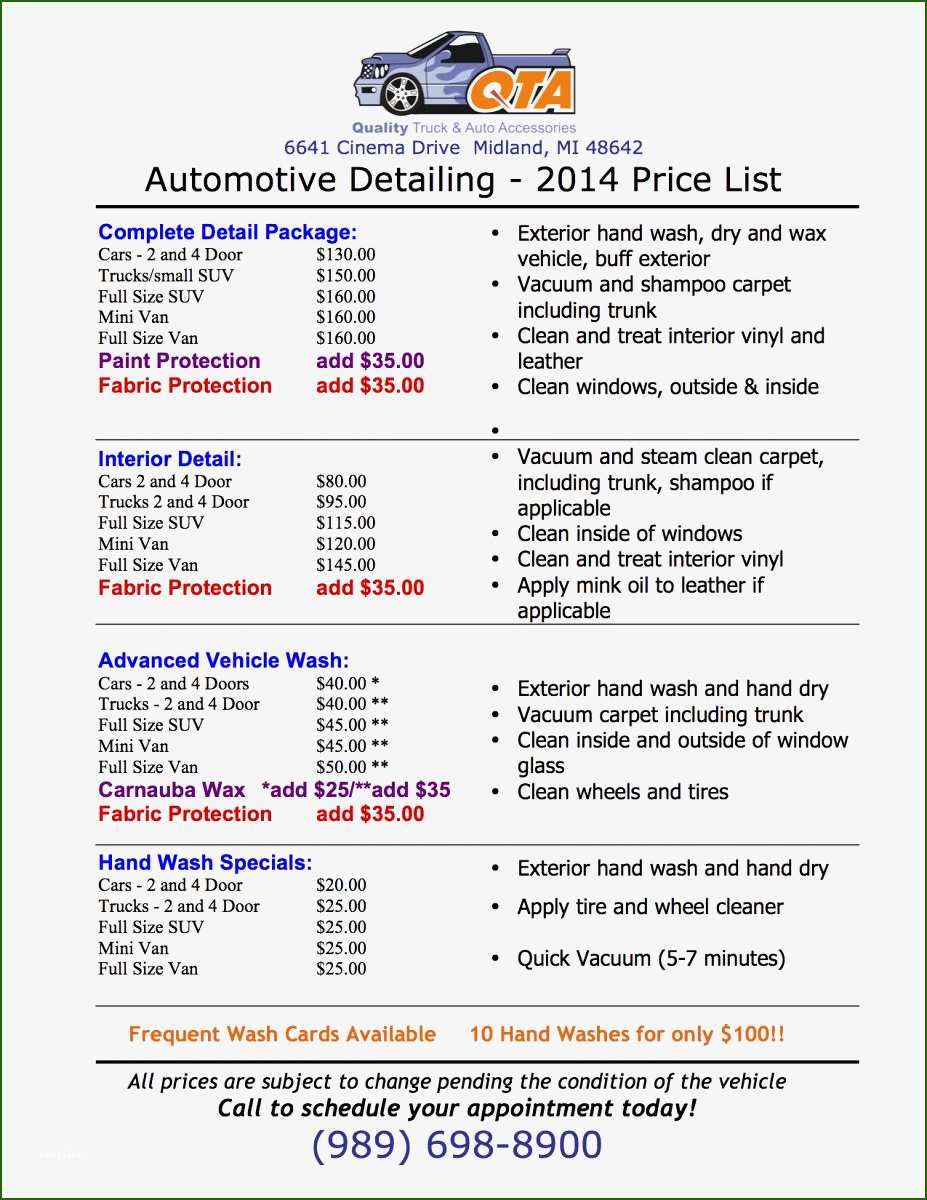 15 Sensational Auto Detailing Price List Template in 2020