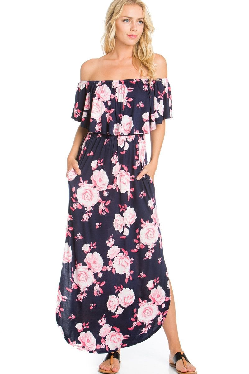 Floral ruffled off shoulder maxi dress products