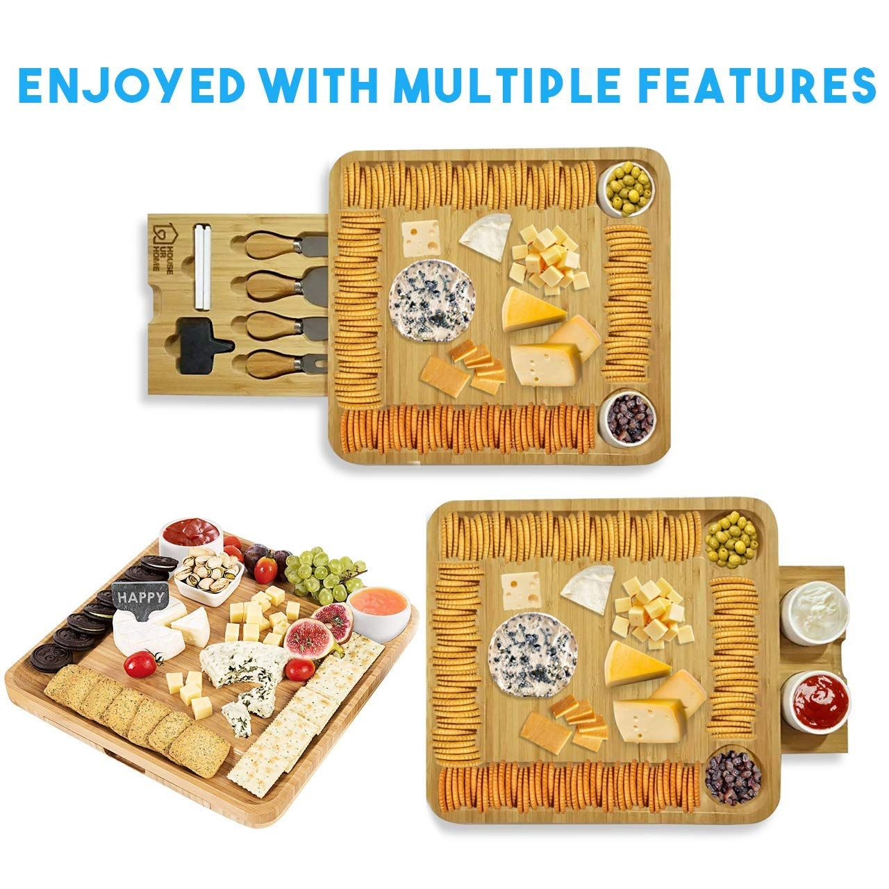 Bamboo Cheese Board Wooden Two Ceramic Bowls