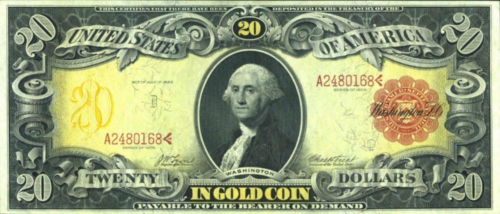 Series 1905 20 Gold Certificate Twenty Dollar Bill Dollar Bill Dollar