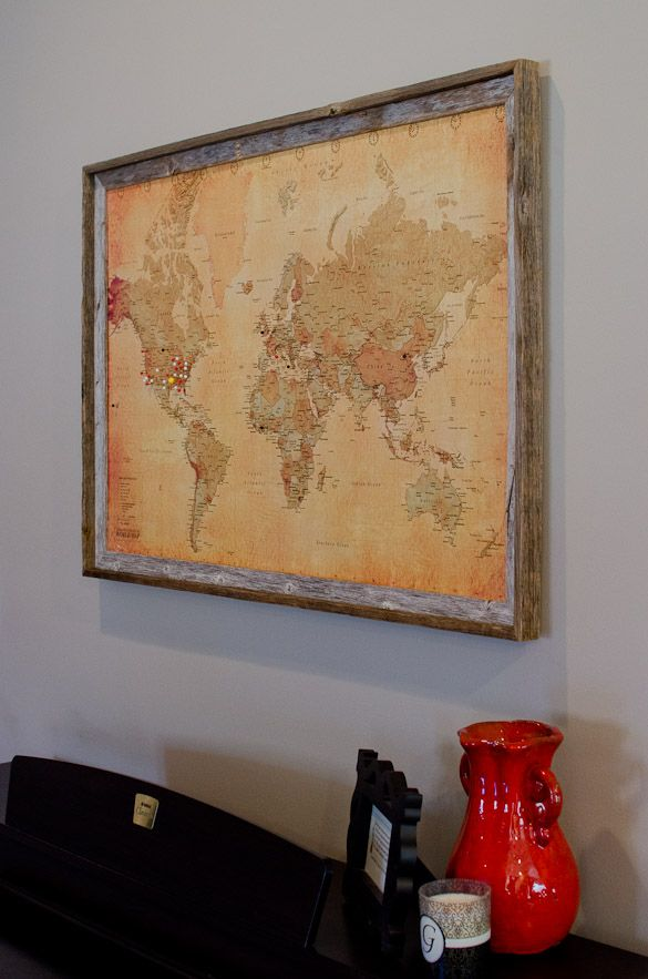 Diy pinboard world map with push pins diy pinterest framed diy pinboard world map with push pins gumiabroncs Images