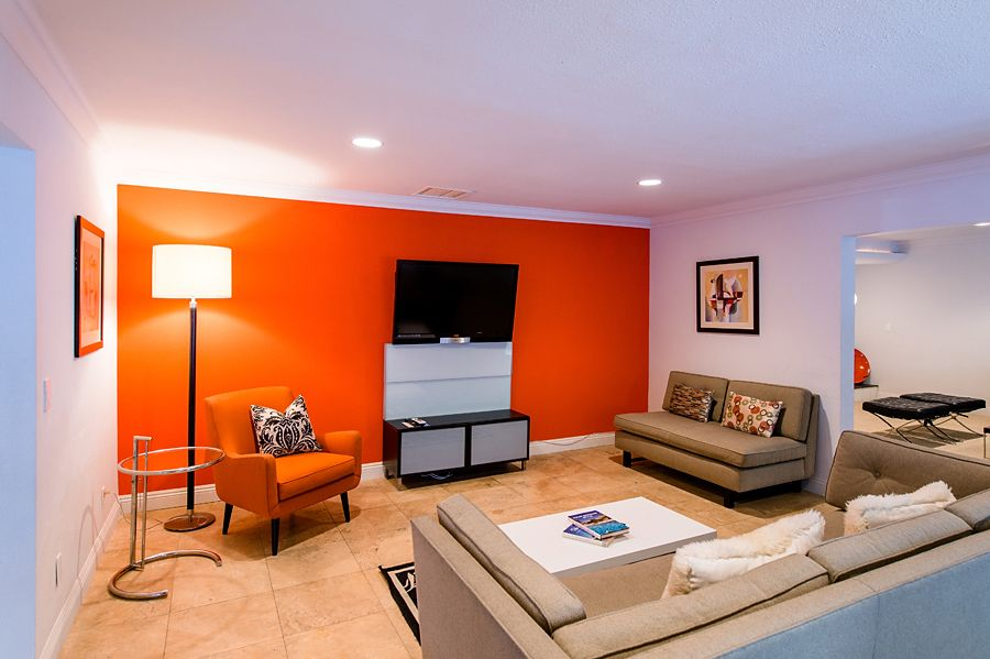 Orange Accent Wall Living Room Idea Pinterest Orange