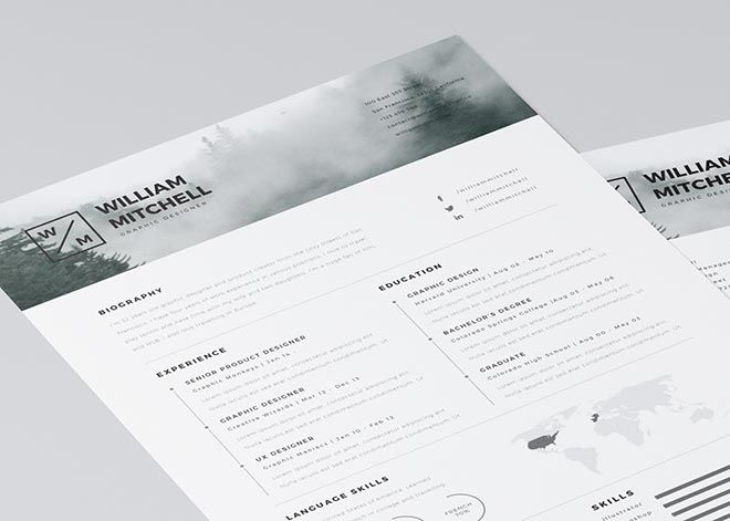 clean resume template for photoshop and illustrator 3