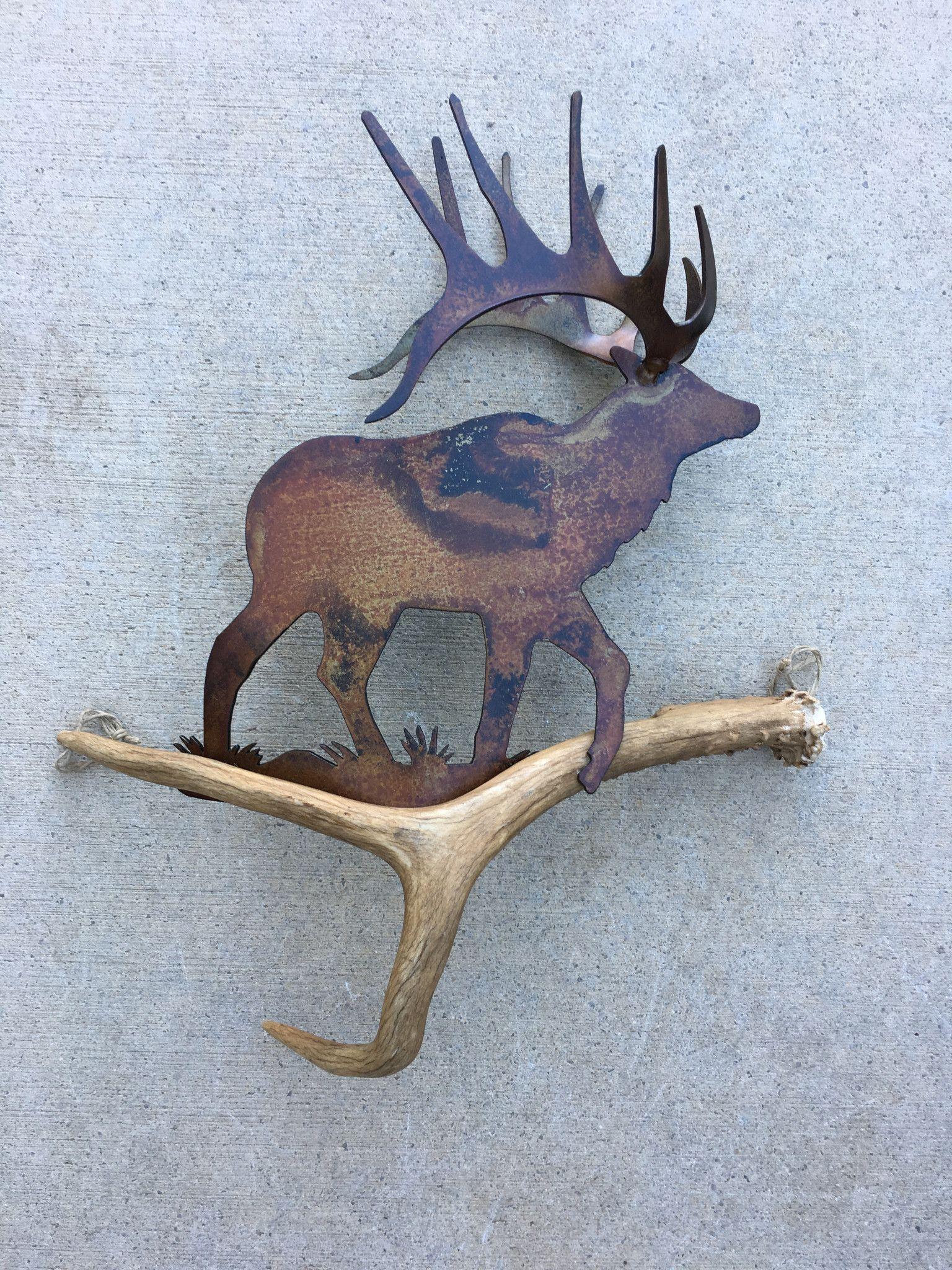 D120 Elk On A Walk Authentic Antler Wall Art Antler Art Antlers Decor Outdoorsy Decor