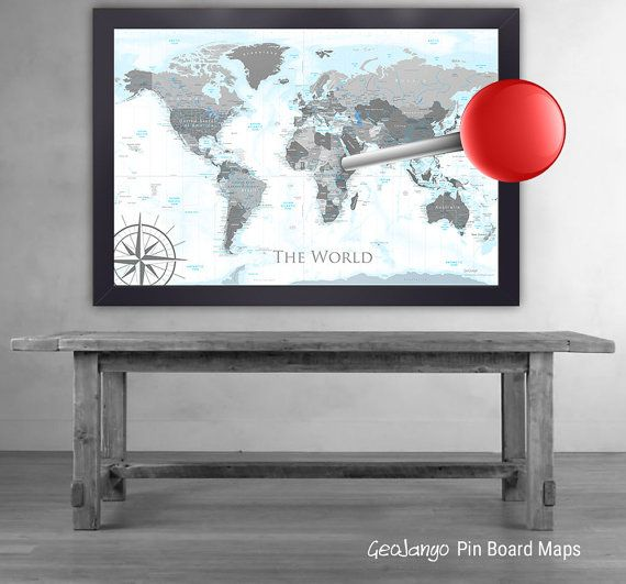 World map wall art black white push pin travel map large wall modern world map in black white world push pin map large world map gumiabroncs Choice Image