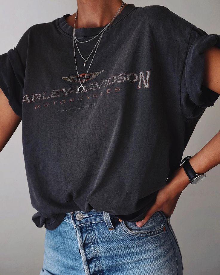 "ANDY CSINGER on Instagram: ""Rolled up sleeves ???? // #vintage #harleydavidson tee via @storeroomvintage, @shopredone #denim ????"" #zarastyle"