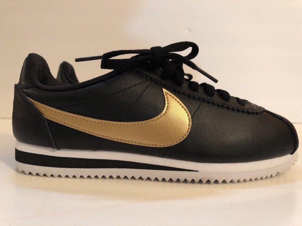 Nike Wmns Classic Cortez Leather 807471 012 012 012 Negro Metálico Oro e98203