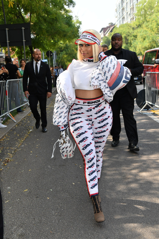 Nicki Minaj Rocks FENDI MANIA To The Spring 2019 Show - Red Carpet Fashion Awards
