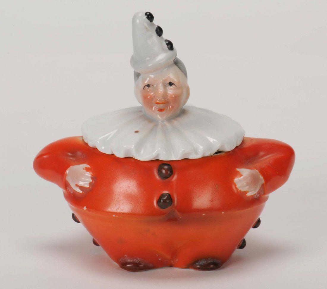 Royal Bayreuth porcelain / CLOWN - 4.25 powder jar with
