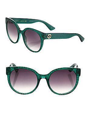 0450a5094 Gucci 54MM Glitter Cat Eye Sunglasses - Green | Products | Cat eye ...