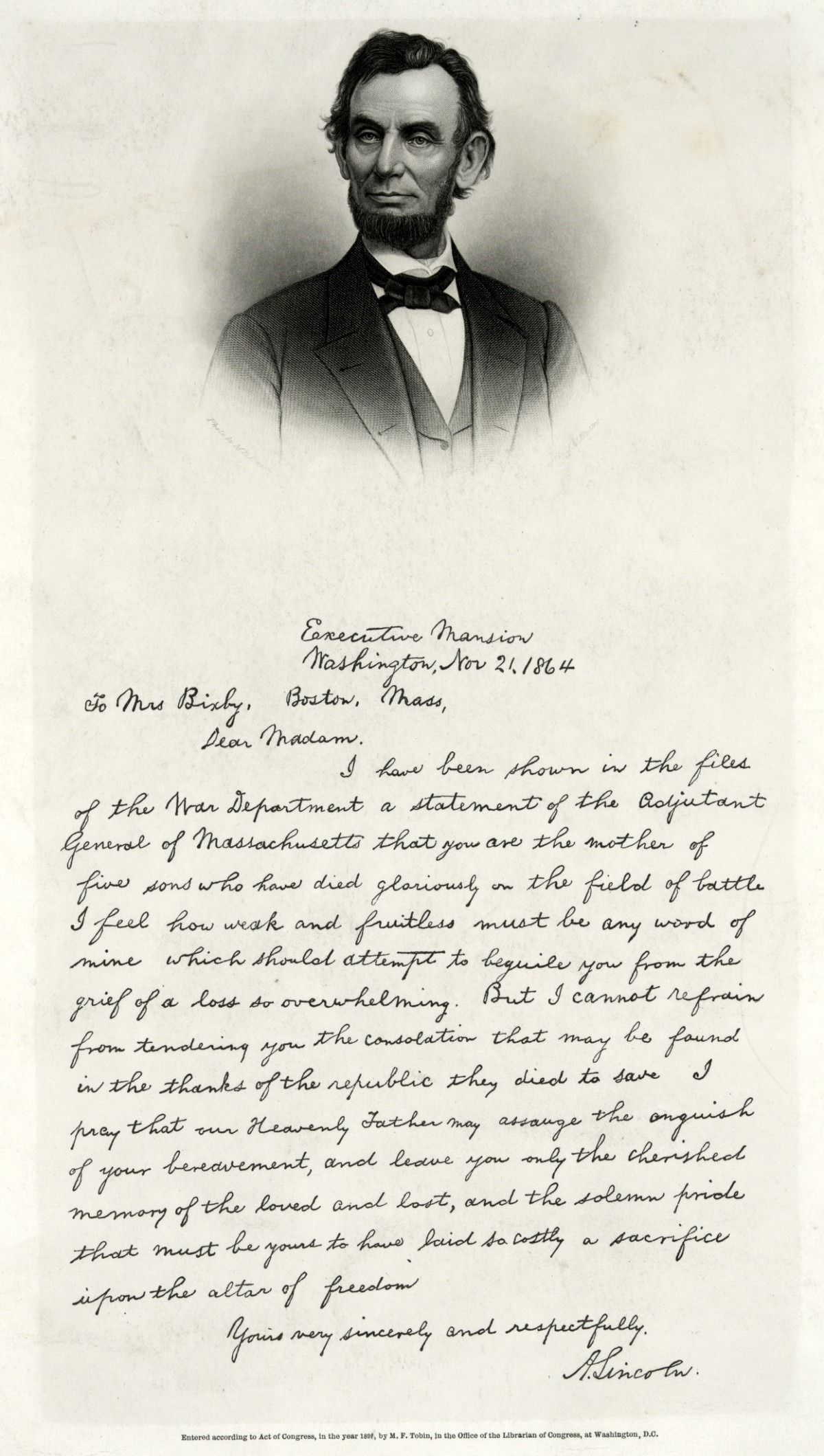 Abraham LincolnS Letter Of Condolence To Mrs Bixby