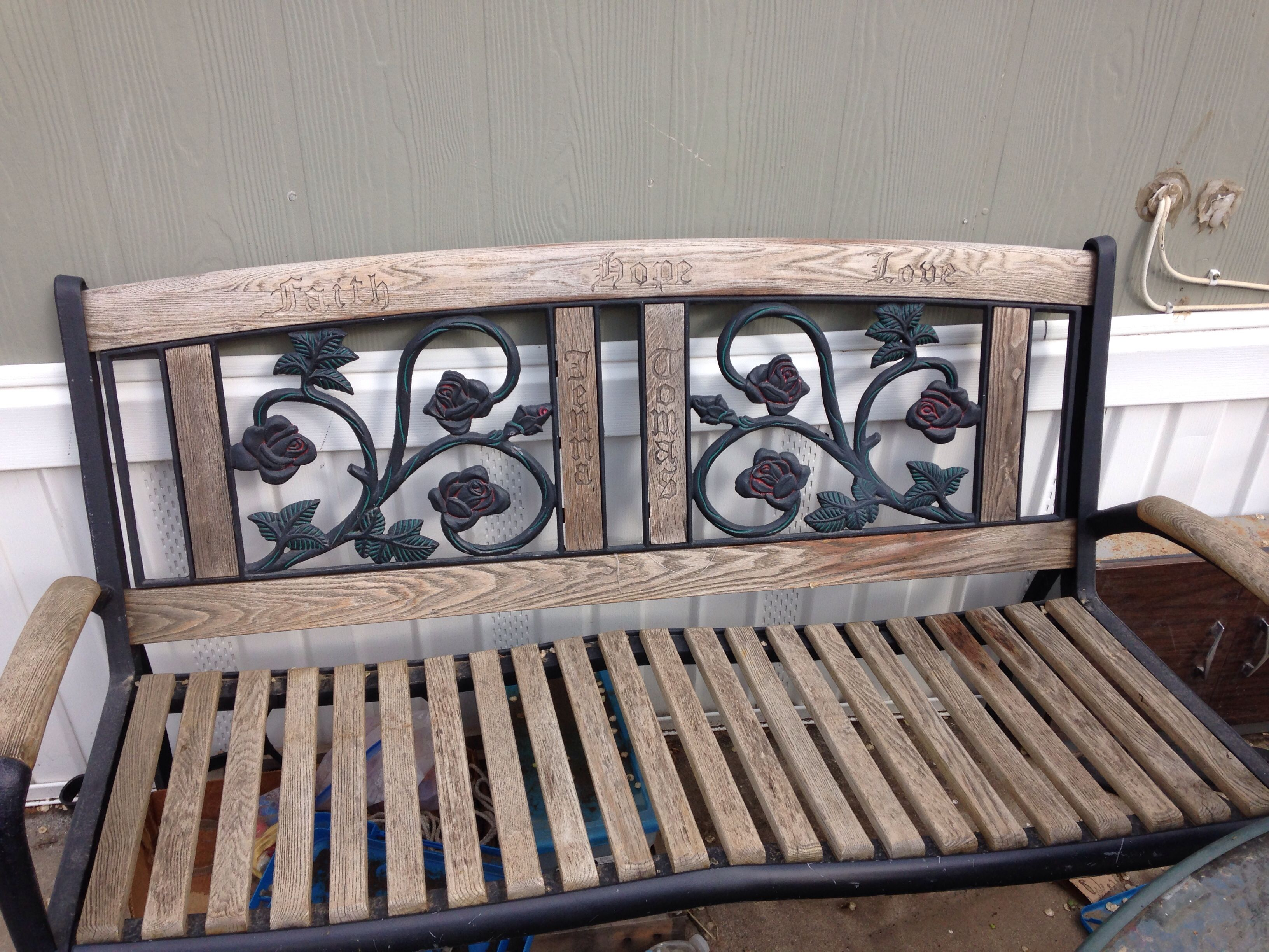 Our Bench Hubby Reclaimed This Broken Down Bench Restored It Hand Carved Our Names Before We Were Married Now All We Nee Home Decor Wood Recycled Materials
