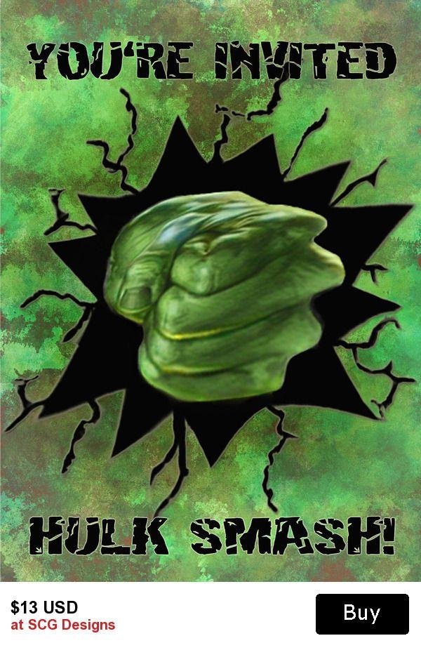 Superhero Hulk Smash Personalized Birthday Invitation 2 Sided Personalized Birthday Invitations Boy Birthday Invitations Personalized Birthday
