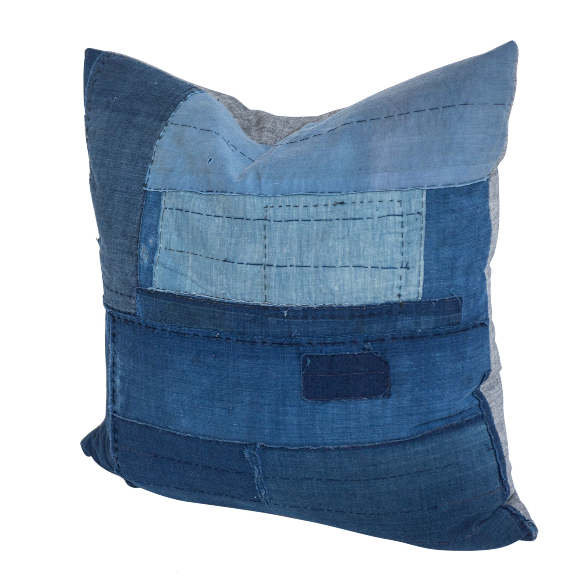 patchwork+indigo+pillow at Found Home