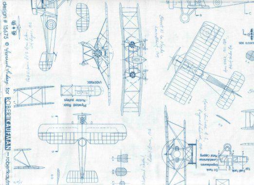Robert Kaufman Fabric Vintage Airplane Fabric ~ Design # 15675 by - fresh define blueprint design
