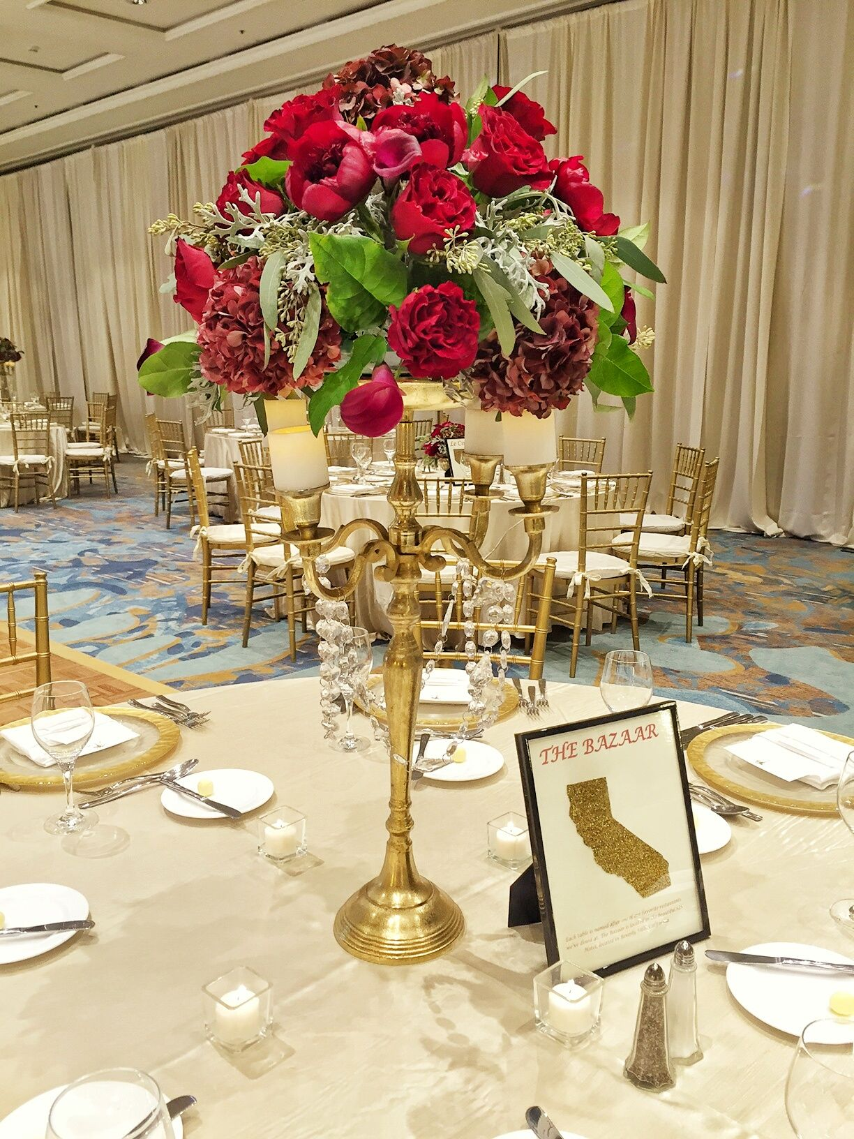 Tall Gold Candleabra With Red Roses Italian Ruscus Seeded Eucalyptus