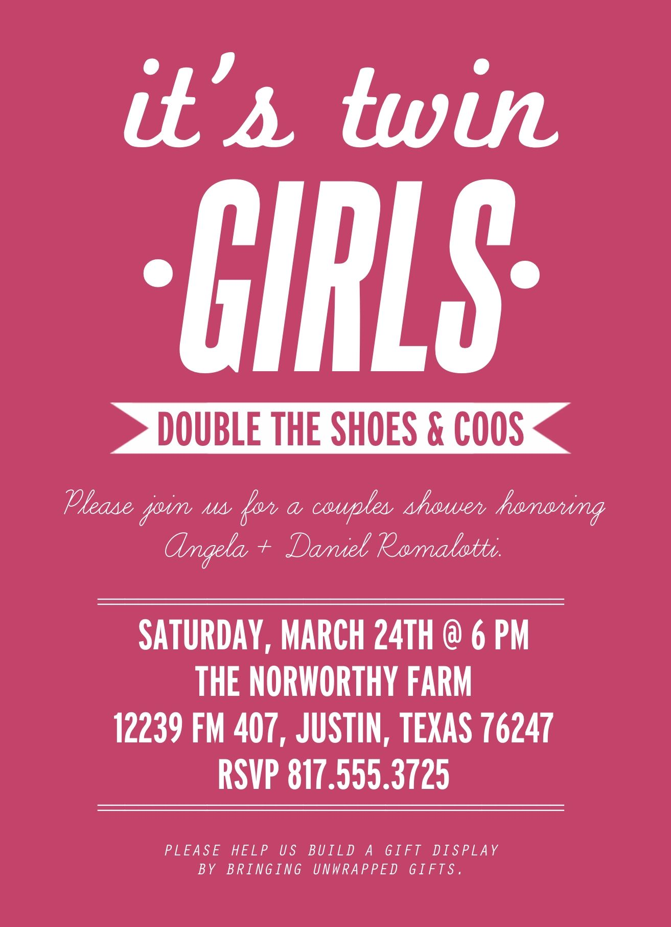 Wording Ideas For Invites Baby Shower Twin Girls Couples Showe Twins Baby Shower Invitations Baby Shower Invites For Girl Twin Girls Baby Shower Invitations