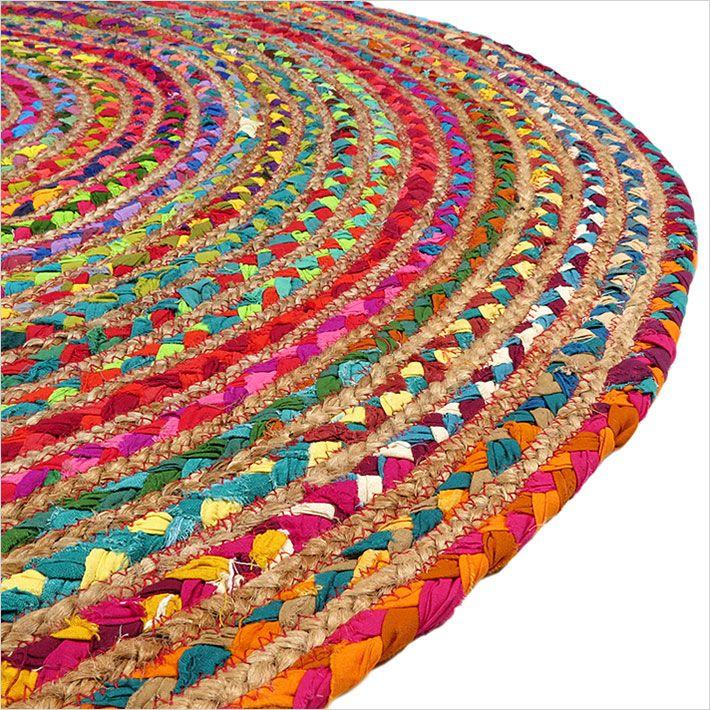 Round Colorful Natural Jute Chindi Sisal Woven Area Braided Boho