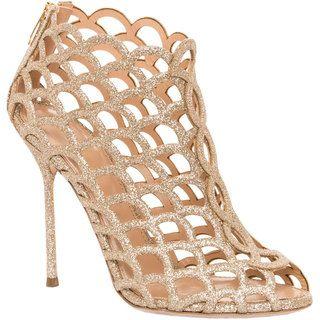 Sergio Rossi Women's Goldtone Mermaid Glitter Cut-out Heel