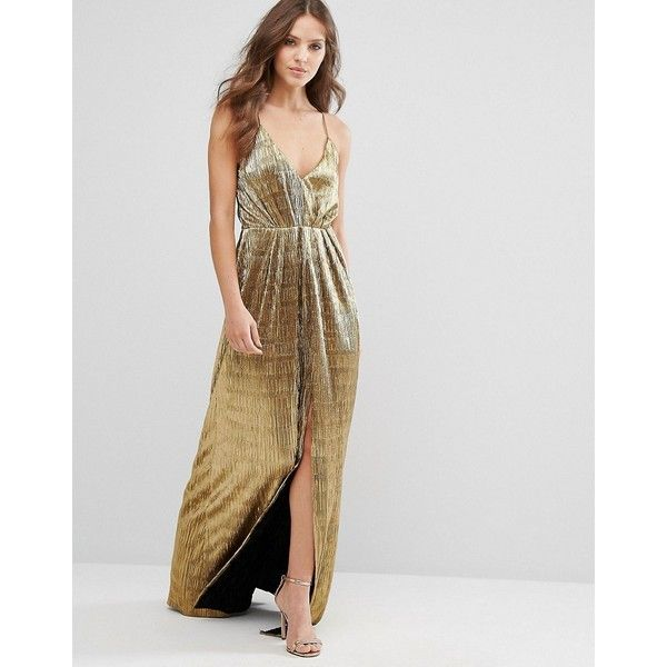 8a4fdc7a9a Millie Mackintosh Gold Maxi Cami Dress (£160) ❤ liked on Polyvore featuring  dresses, gold, v-neck maxi dresses, v-neck camisoles, gold camisole,  metallic ...