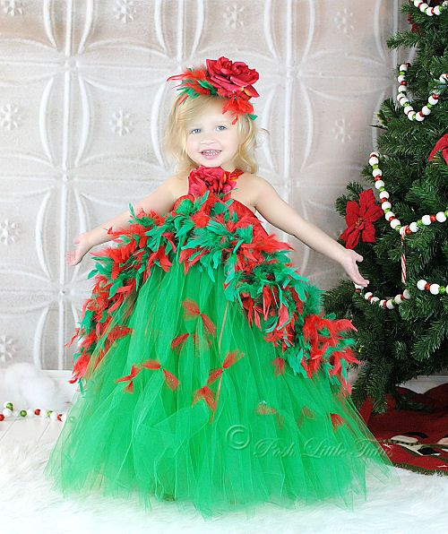 Christmas Tree Boutique Feather Couture Girls Tutu Dress | Pageant ...