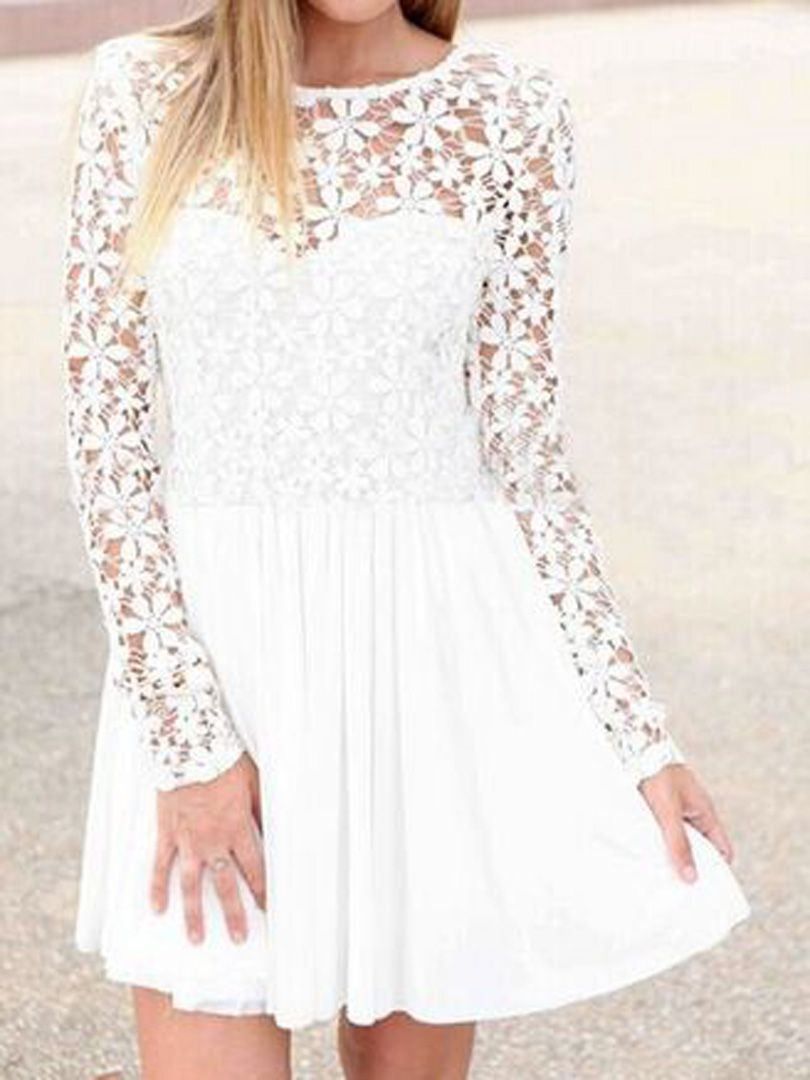 White lace panel long sleeve backless pleated dress choies