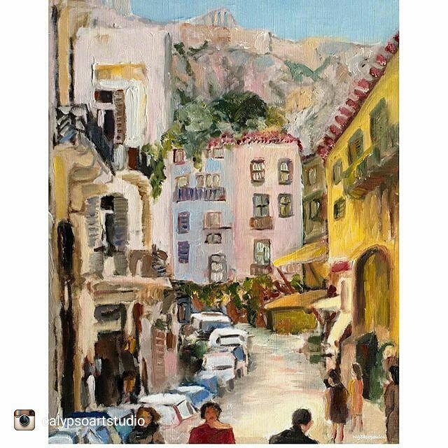 Fabulous work from @calypsoartstudio check out their page and don't forget to follow @calypsoartstudio 'Walking in Plaka towards the #Parthenon. I tried to capture the overcast light conditions by neutralizing every dab of paint. Working on a more simplified almost abstract version of this favorite subject.' #Oiloncanvas #impressionistpainting #allaprima  #oilpainting  #goodartguide #CalypsoArtStudio #originalart  #contemporarypainting #pleinair #representationalpainting #originalartwork…