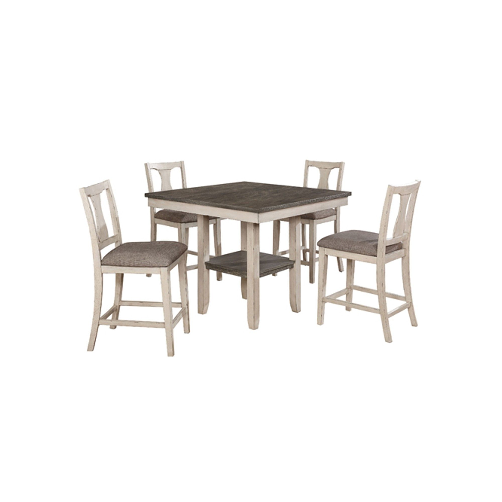ac67db86bfe8 5pk Terry Wood Dining Table Set Antique White/Gray - Sun & Pine ...