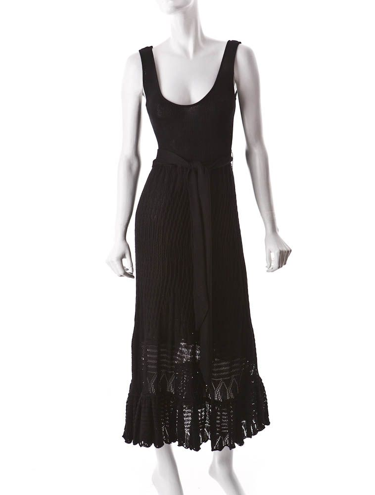Black cotton knit dress with waist tie. | Old- Active favs ...