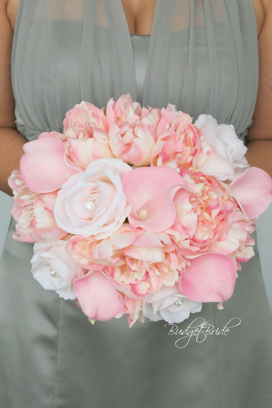 Davids Bridal Pink and Grey theme wedding with Calla Lily and Peony ...