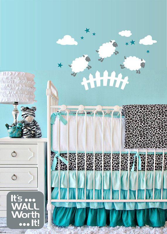 compter les moutons vinyle wall decal chambre de b b ou. Black Bedroom Furniture Sets. Home Design Ideas