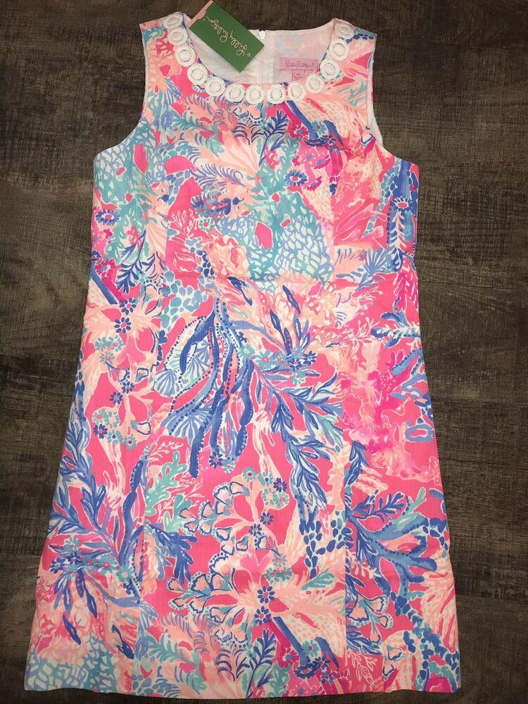 "42bbff55d5a15c NWT LILLY PULITZER ""MINI MILA"" Shift Dress Size 14 GIRLS; 100% cotton  Multicolored with scalloped white neck - ""Light Pascha Pink Aquadesiac""  Back zipper ..."