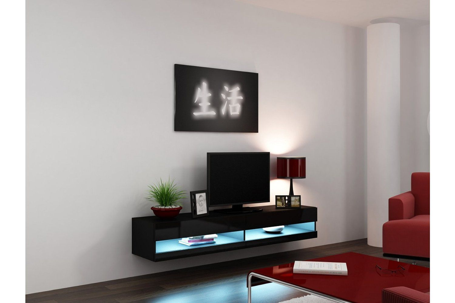 Amazoncom Concept Muebles 80 Inch Seattle High Gloss Led Tv Stand