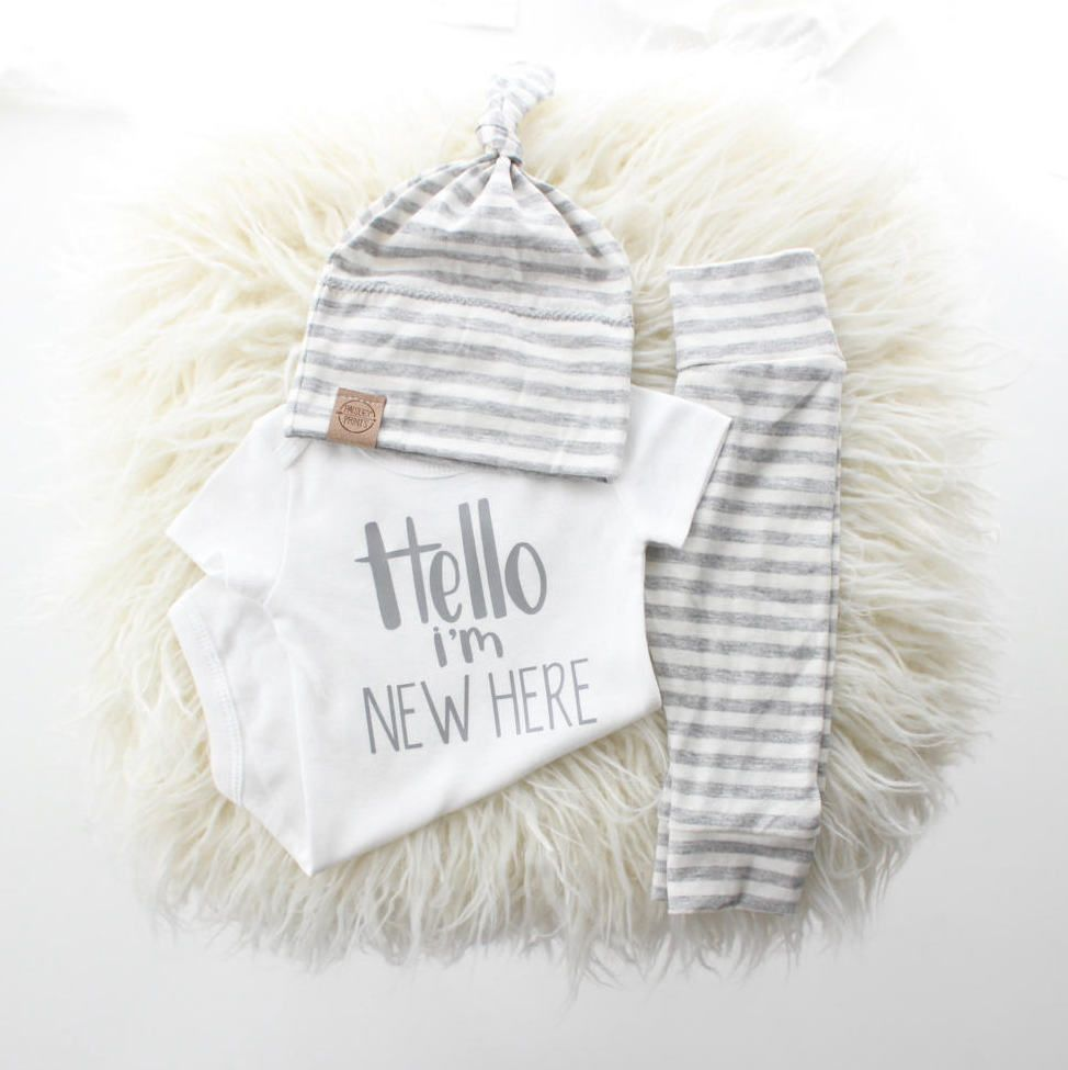 f077ea7a6 Hello I m New Here Onesie - White   Grey