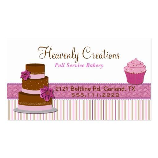 Bakery cupcake business card front side printable stickers bakery cupcake business card fbccfo Gallery
