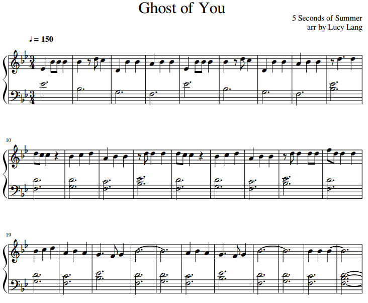 5 Seconds of Summer piano sheet music Ghost of You PDF