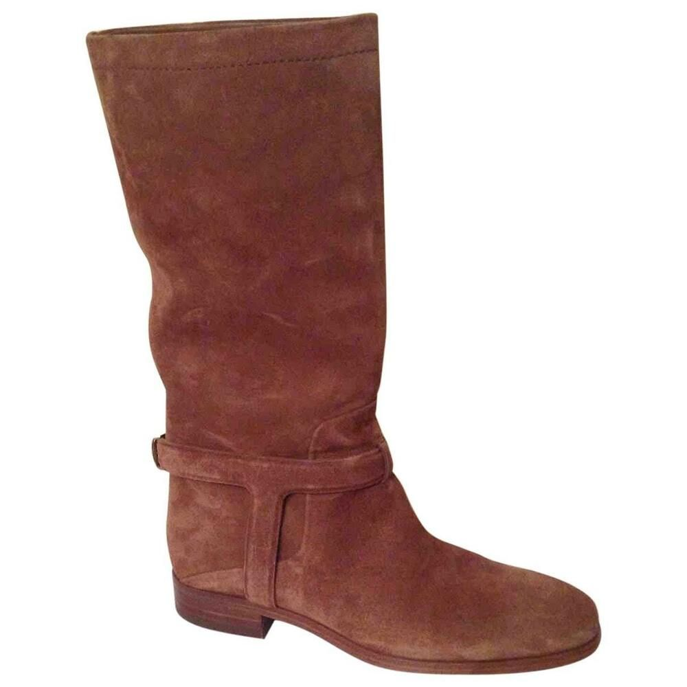 cf039fb6d Christian Dior Urbaine Mid-calf Riding Boot Camel Suede size 38 (7.5 ...