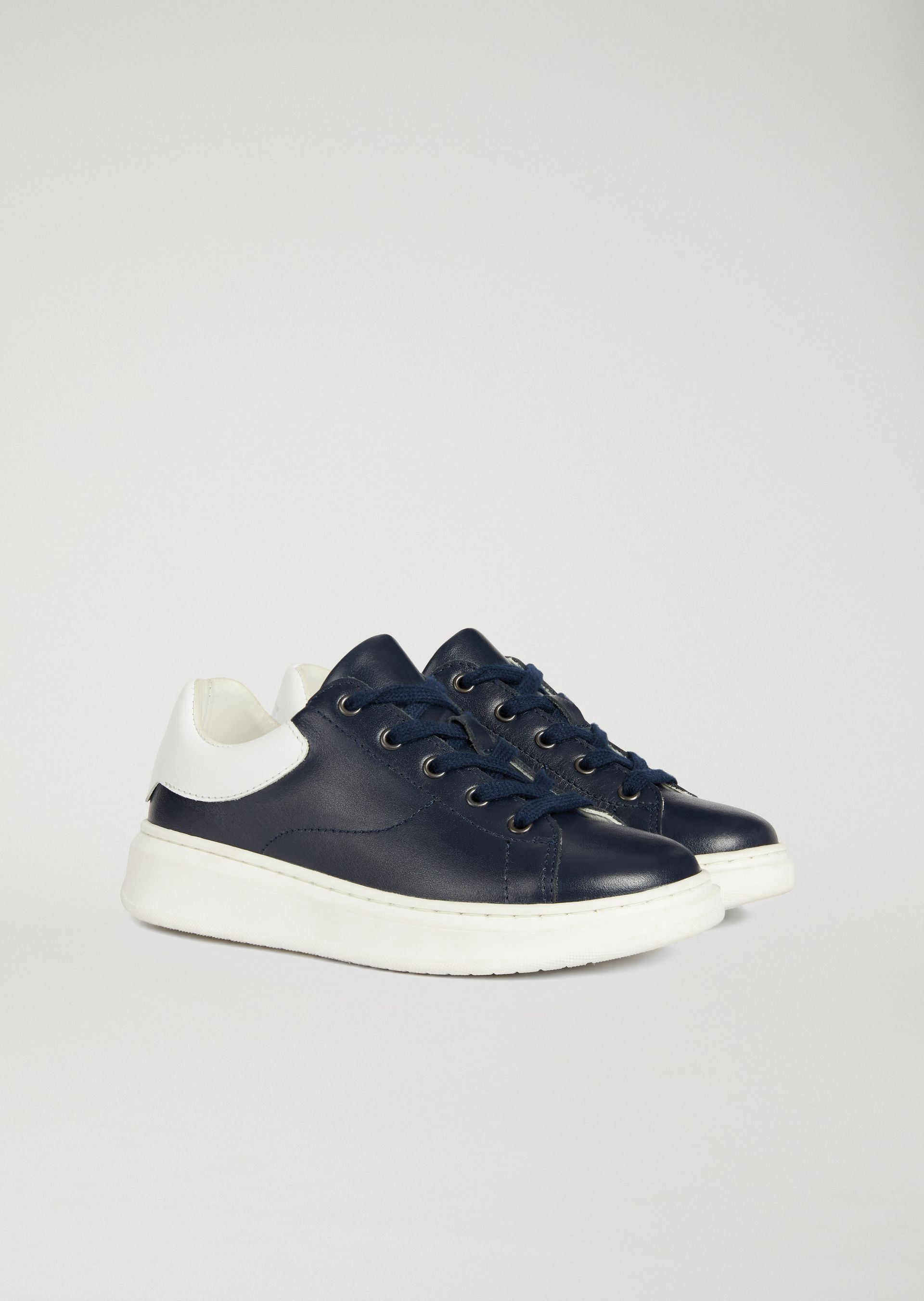 506c17178 Emporio Armani Nappa Sneakers With Logo - Navy Blue 30 | Products ...