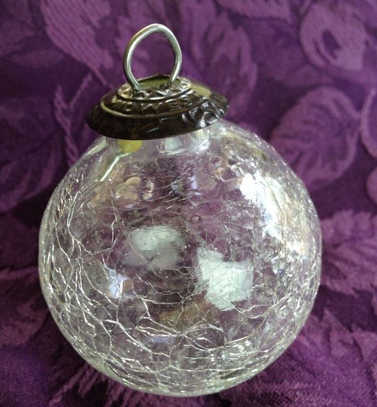 Kugel midwest ornament clear crackle glass rare