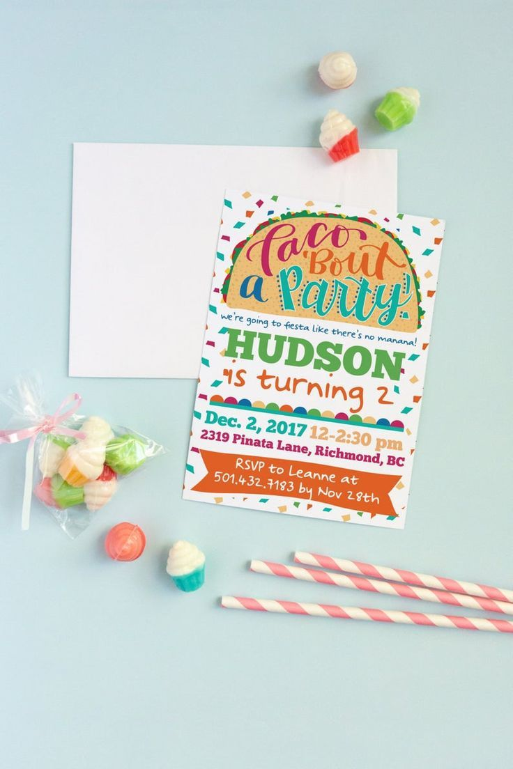 Editable Taco Twosday Invitation Template, Gender Neutral