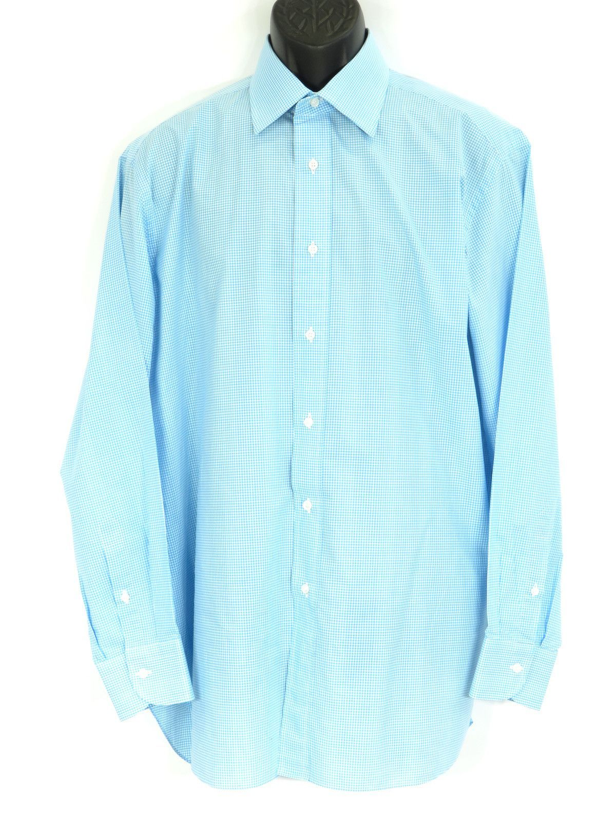 Green checkered dress shirt  BRIONI Men Blue White Checkered Pattern Long Sleeve Button Down