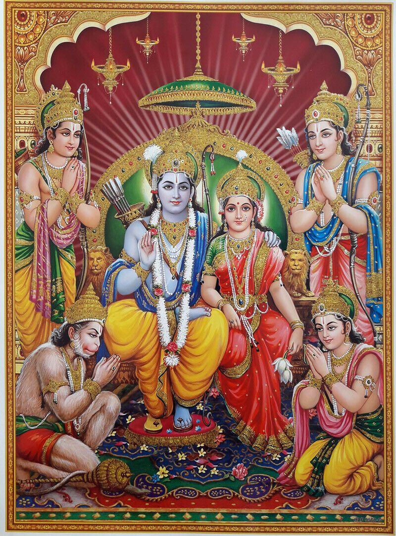 12X16 INCH POSTER Lord Ram Rama Darbar Hindu Gods, Golden