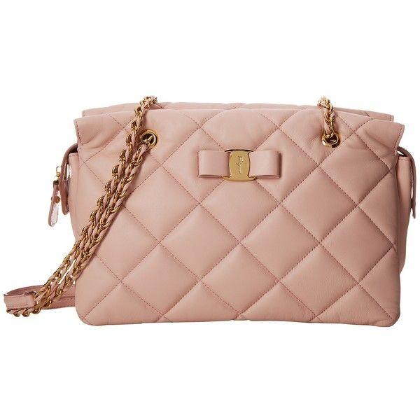 Salvatore Ferragamo 21E743 Ginette (5.420 BRL) ❤ liked on Polyvore featuring bags, handbags, macaron, genuine leather purse, leather handbags, genuine leather handbags, bow purse and leather purses
