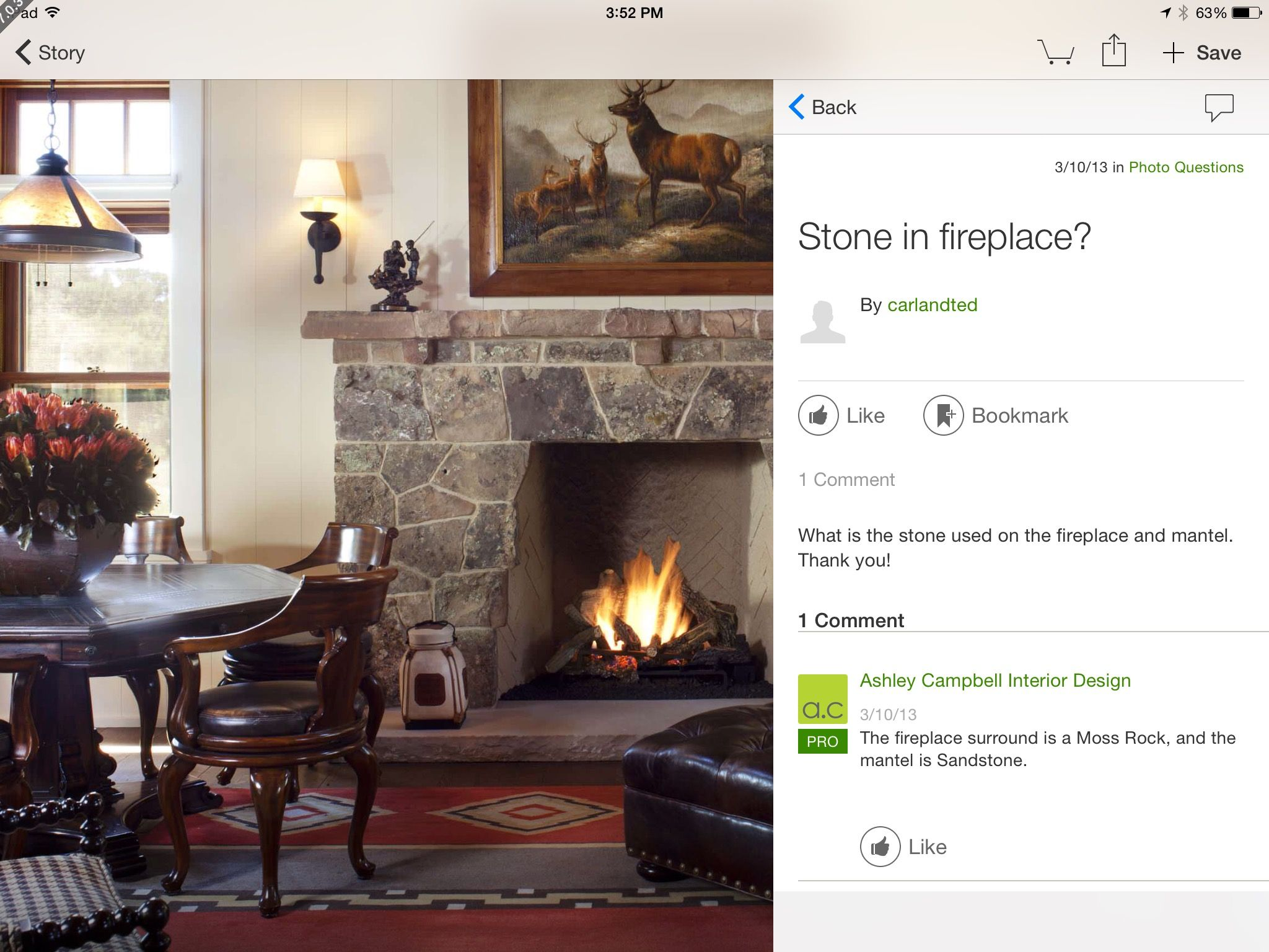 I like the stonework on the fireplace.