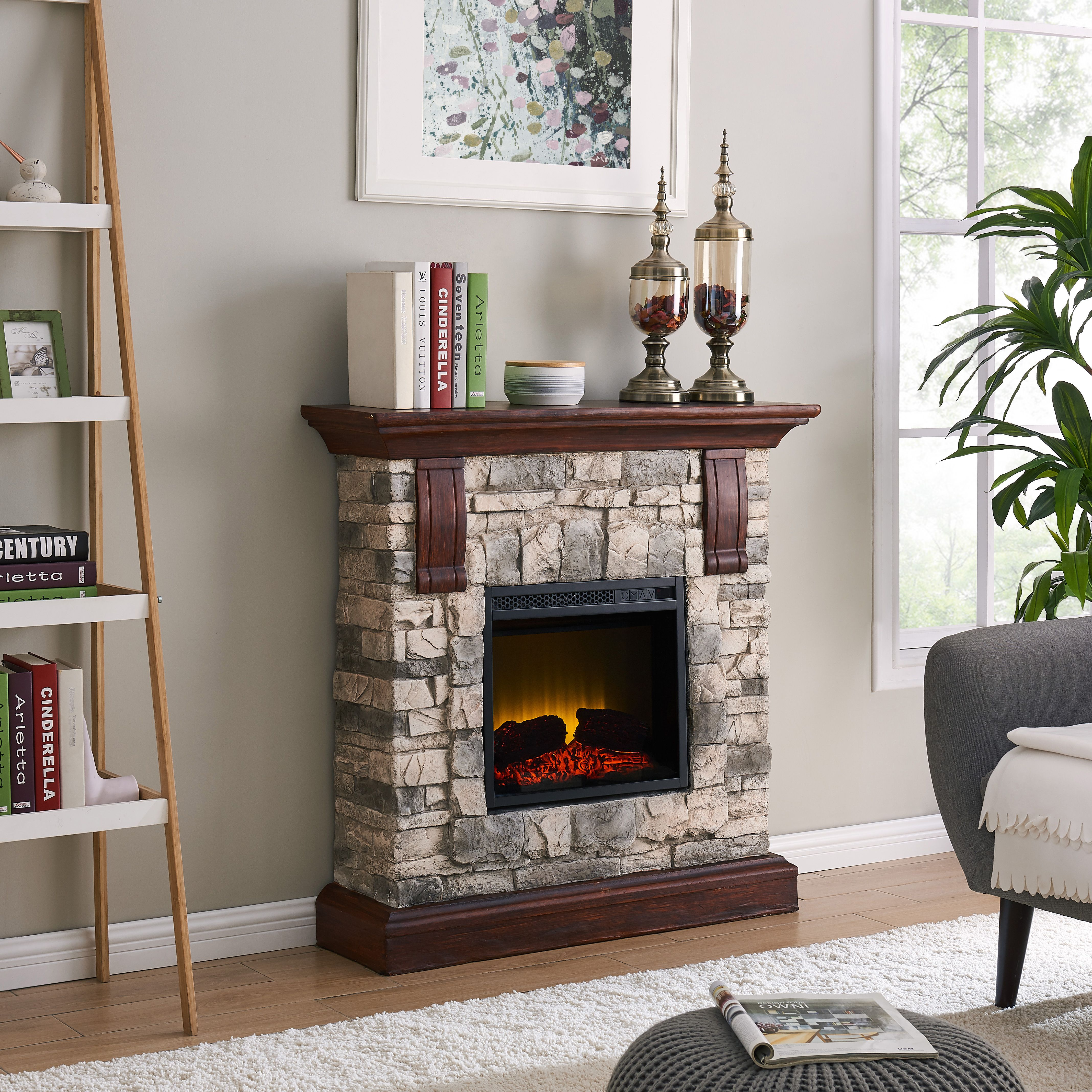 Electric Fireplaces For Sale At Walmart Bold Flame 40 Inch Faux Stone Electric Fireplace In Tan Grey In