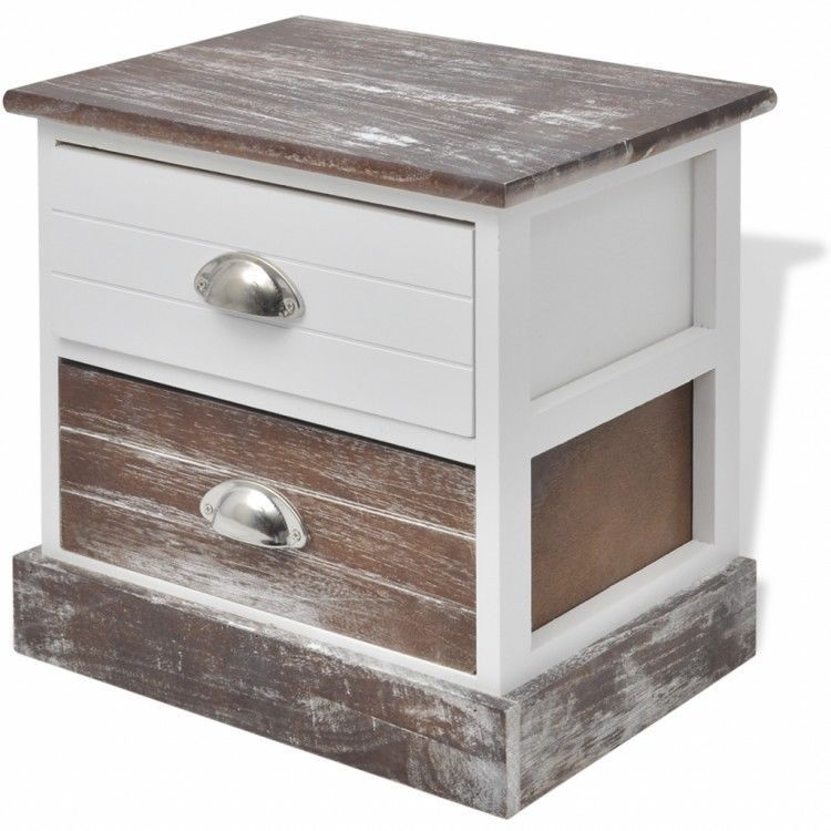 Shabby Chic Bedside Cabinet Brown White Table Nightstand Sta…