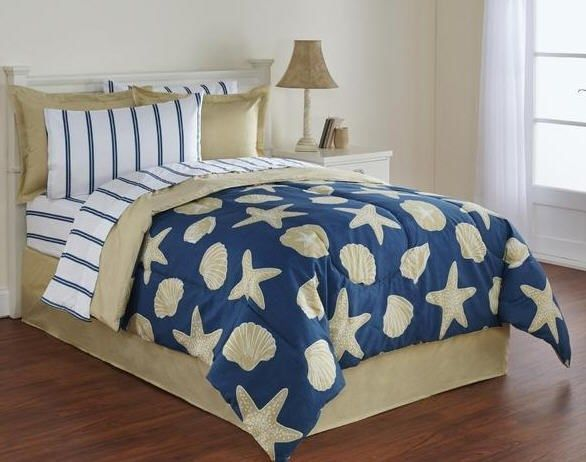 Nautical Twin Bedding Sets.Details About Blue Seashells Beach House Nautical Full