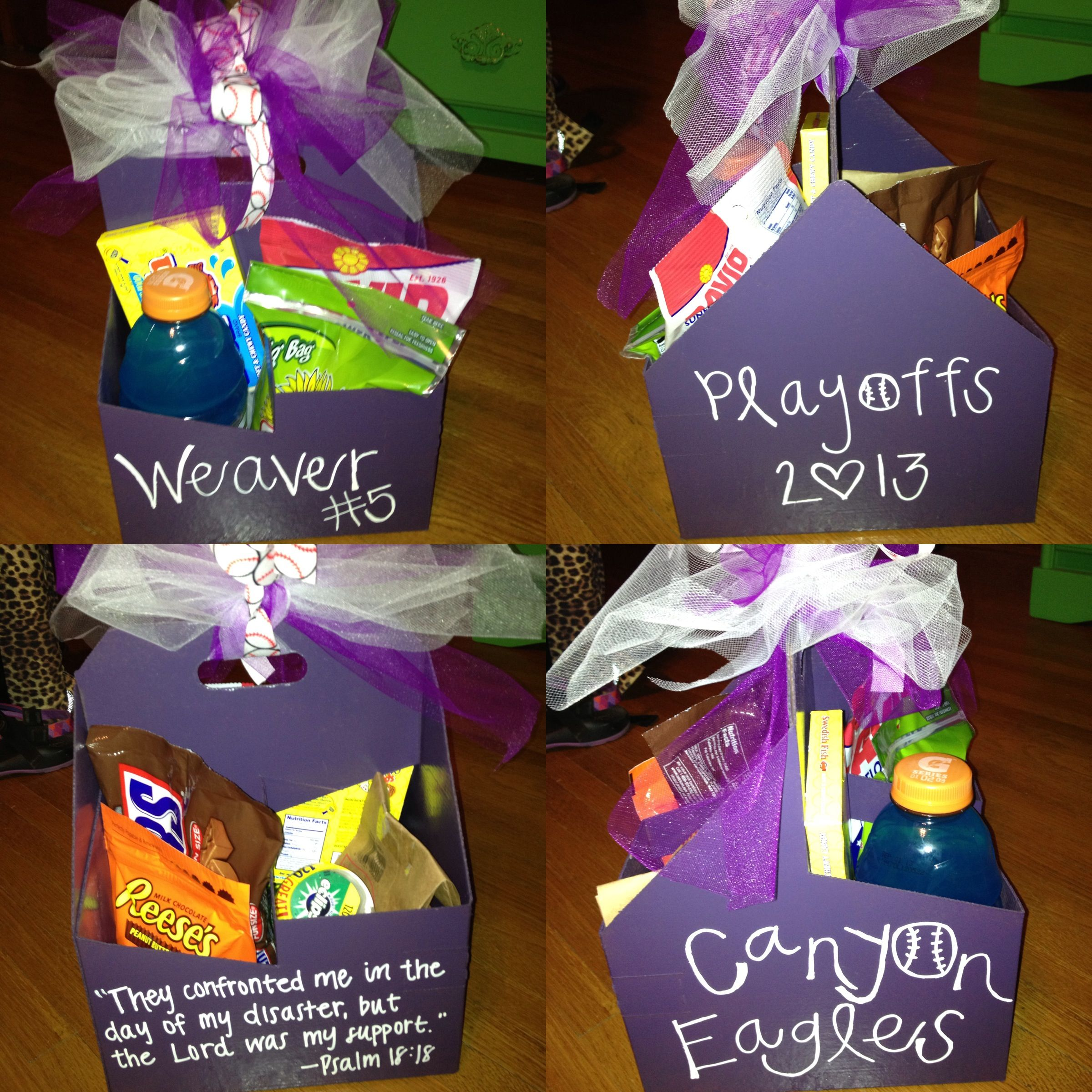 gift basket idea: paint and add ribbon to a drink holder from a fast